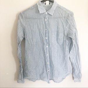J Crew Womens Blue striped longsleeve shirt Medium